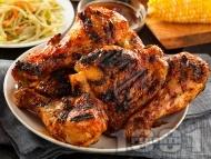 Рецепта Пилешки бутчета със сос барбекю и течен пушек на фурна